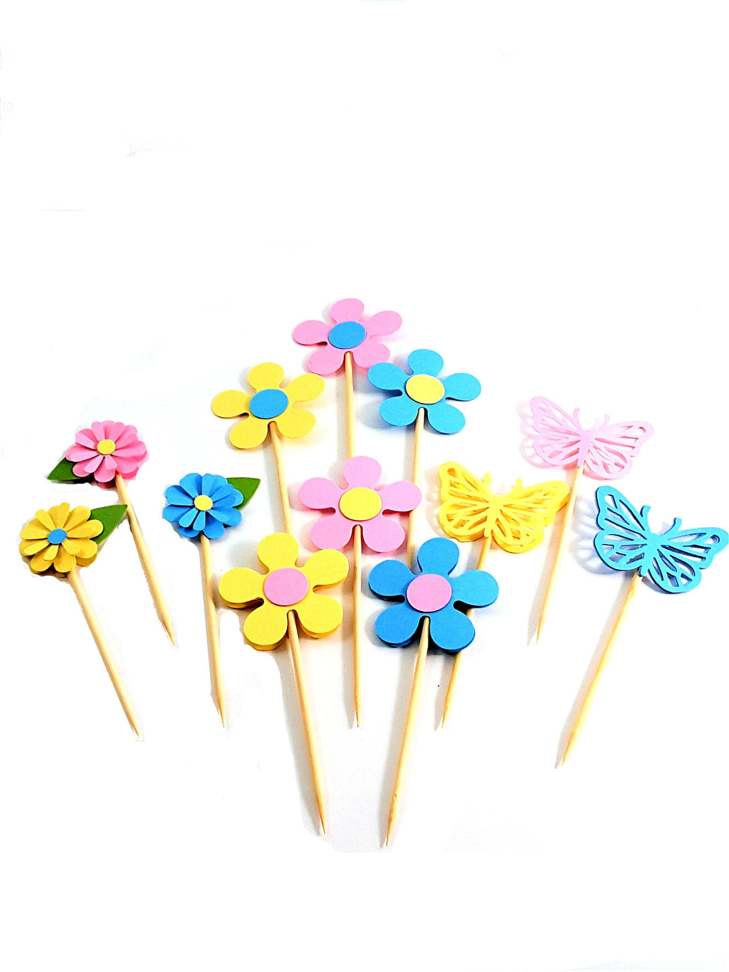 Solid Pastel Flower and Butterfly Cupcake Toppers for All Occasions, including Birthdays