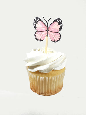 All Occasion Pale Pink Poppy Flower and Butterfly Cupcake Toppers - TheLastWordBish.com