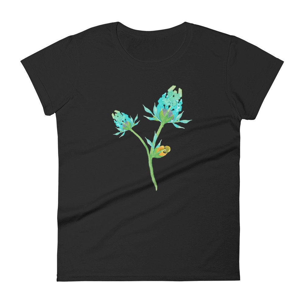 Aqua Watercolor Floral on Black Women's T-shirt - TheLastWordBish.com