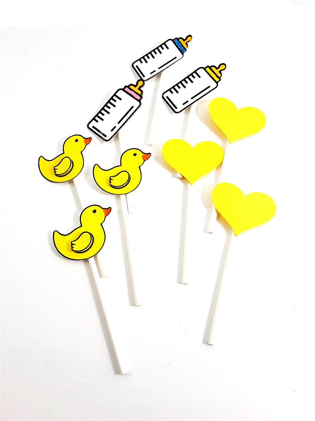 Personalized Baby Shower Cupcake Toppers with baby bottle, yellow duckie and heart