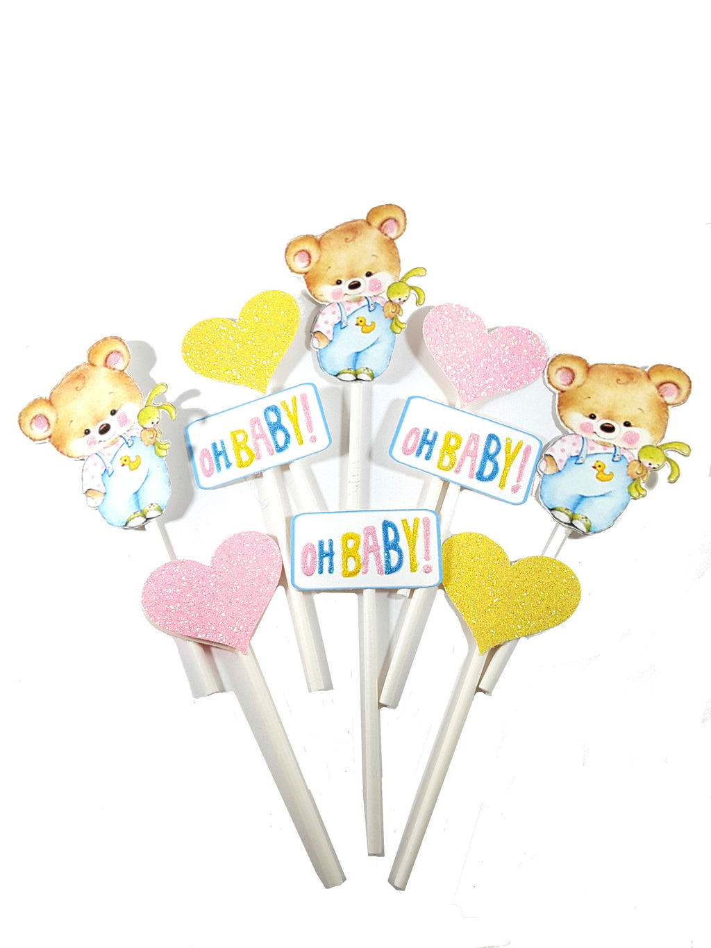 Cupcake Toppers  Featuring Teddy Bear, Oh Baby Signs and Glitter Hearts