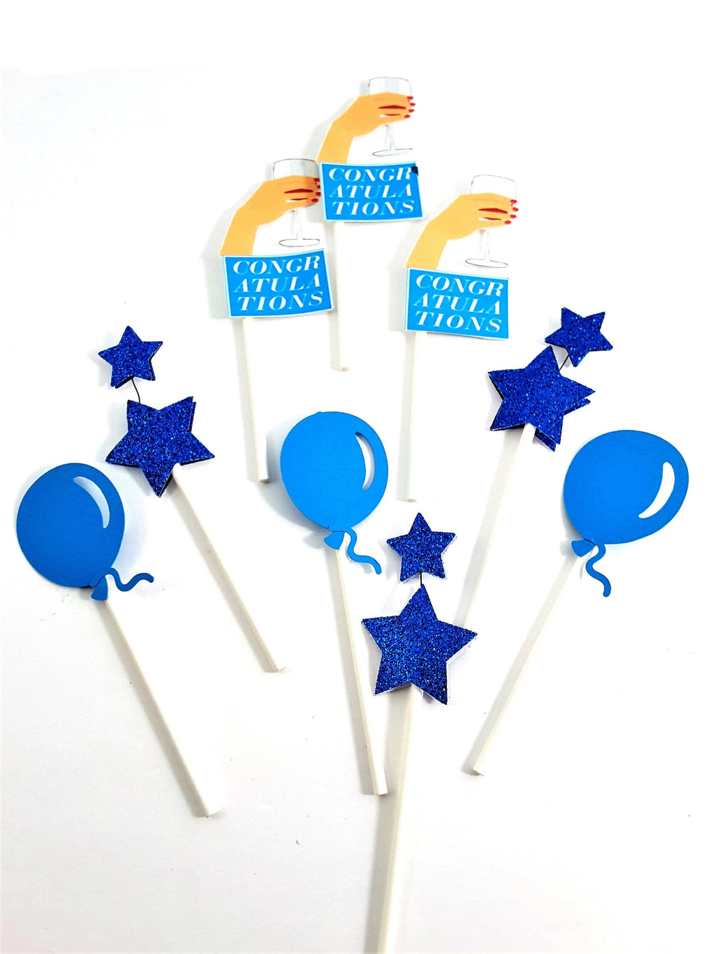 Congratulations Wine Toast, Balloon and Star Cupcake Topper Collection