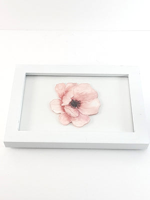 White Framed Set of Digital Prints, Pale Pink Flower and Butterfly - The Last Word Bish