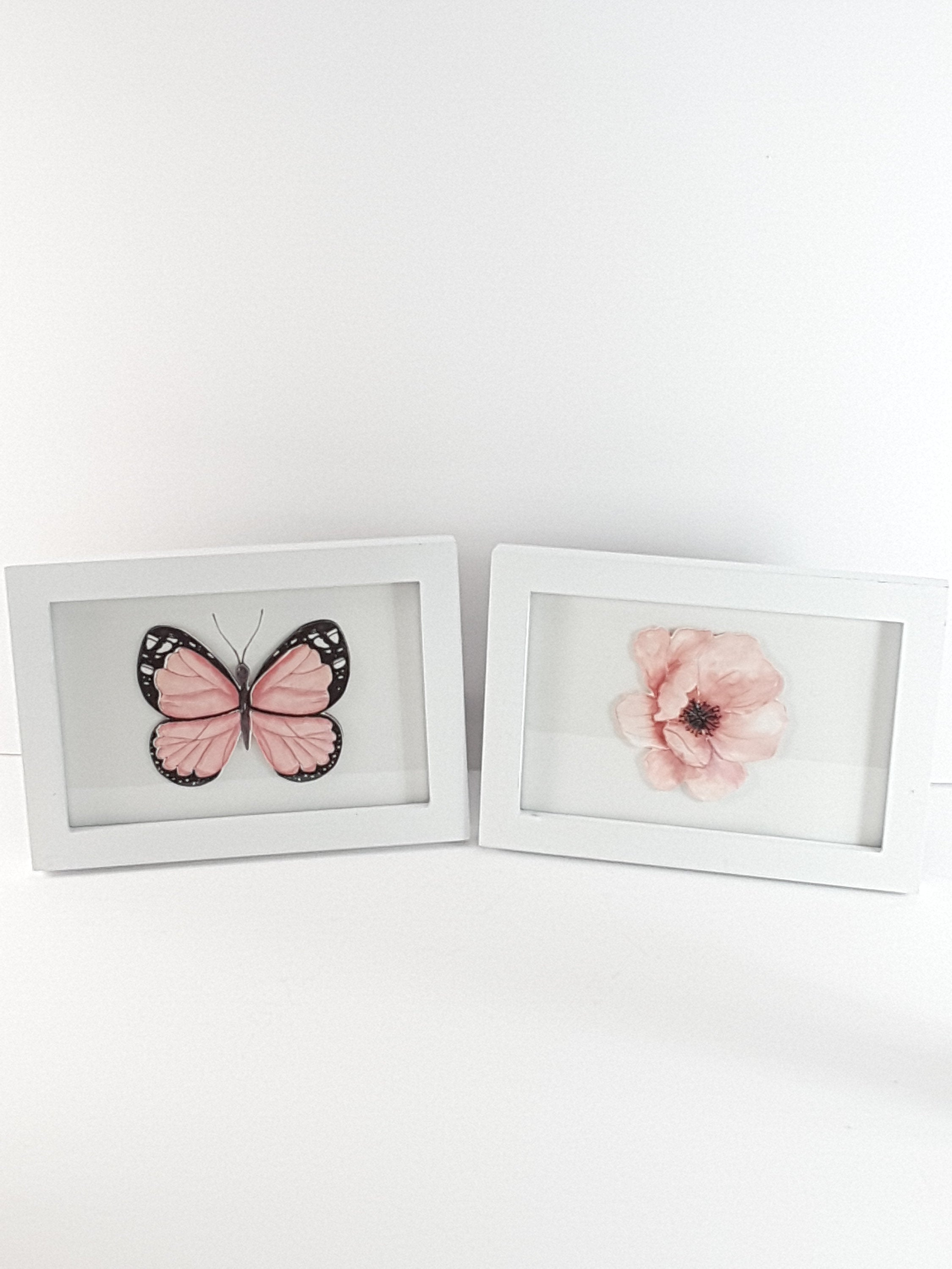 White Framed Set of Digital Prints, Pale Pink Flower and Butterfly