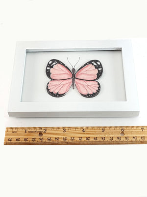 White Framed Set of Digital Prints, Pale Pink Flower and Butterfly - TheLastWordBish.com