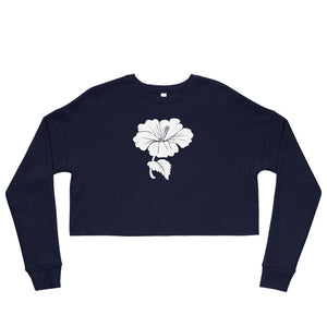 Women's Black or Navy Cropped Sweatshirt with white hibiscus flower