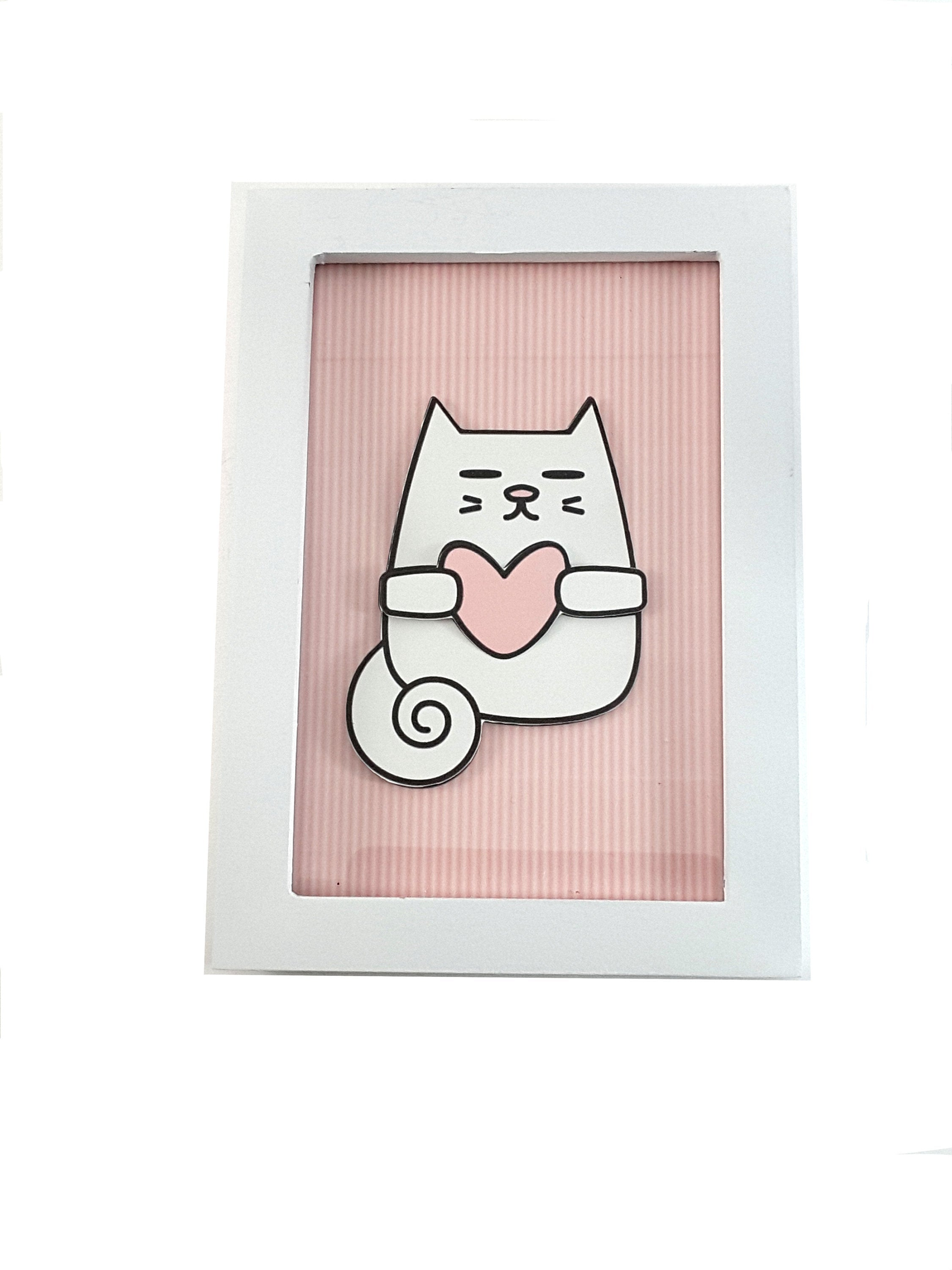 White Framed Print of Cat on Your Choice of 3 Different Backgrounds - TheLastWordBish.com