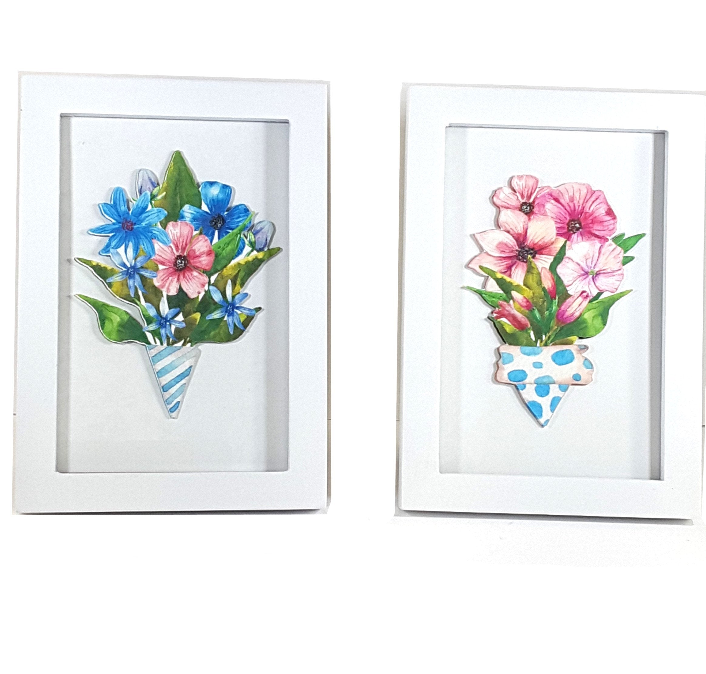 White Framed Set of Floral Bouquet Prints - TheLastWordBish.com