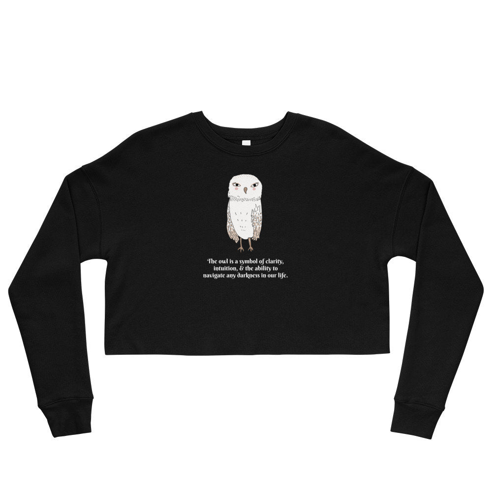 Women's Cropped Sweatshirt with Owl & Caption of Owl Symbology - The Last Word Bish