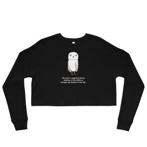 Women's Cropped Sweatshirt with Owl & Caption of Owl Symbology - TheLastWordBish.com