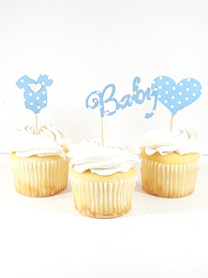 Your Choice of Assorted Polka Dotted and Solid Pink, Blue and Yellow  Cupcake toppers  for baby shower - TheLastWordBish.com