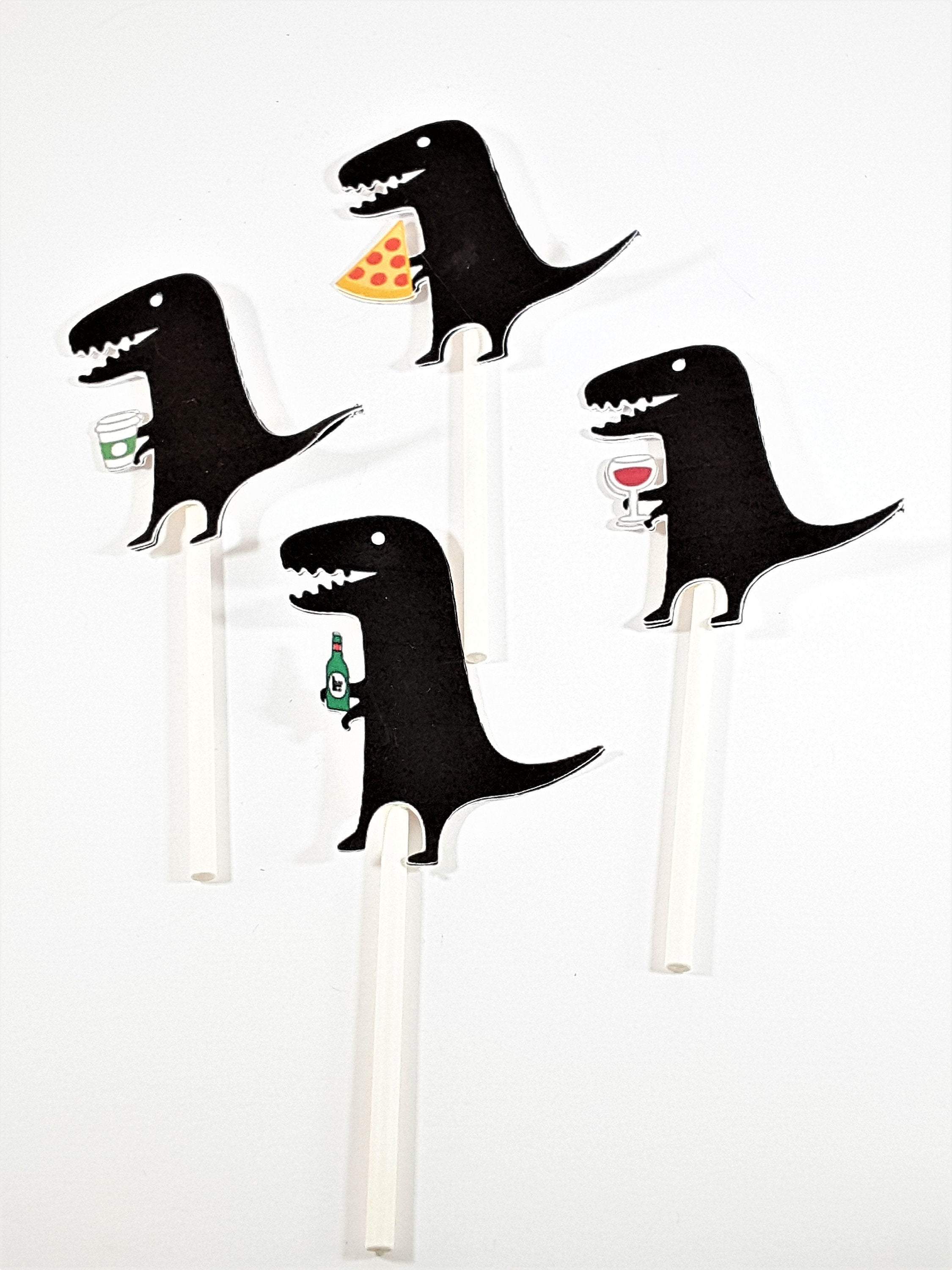 Black DInosaur with Food (Pizza) or Beverage (Beer, Coffee or Wine) Cupcake Topper for Any Occasion