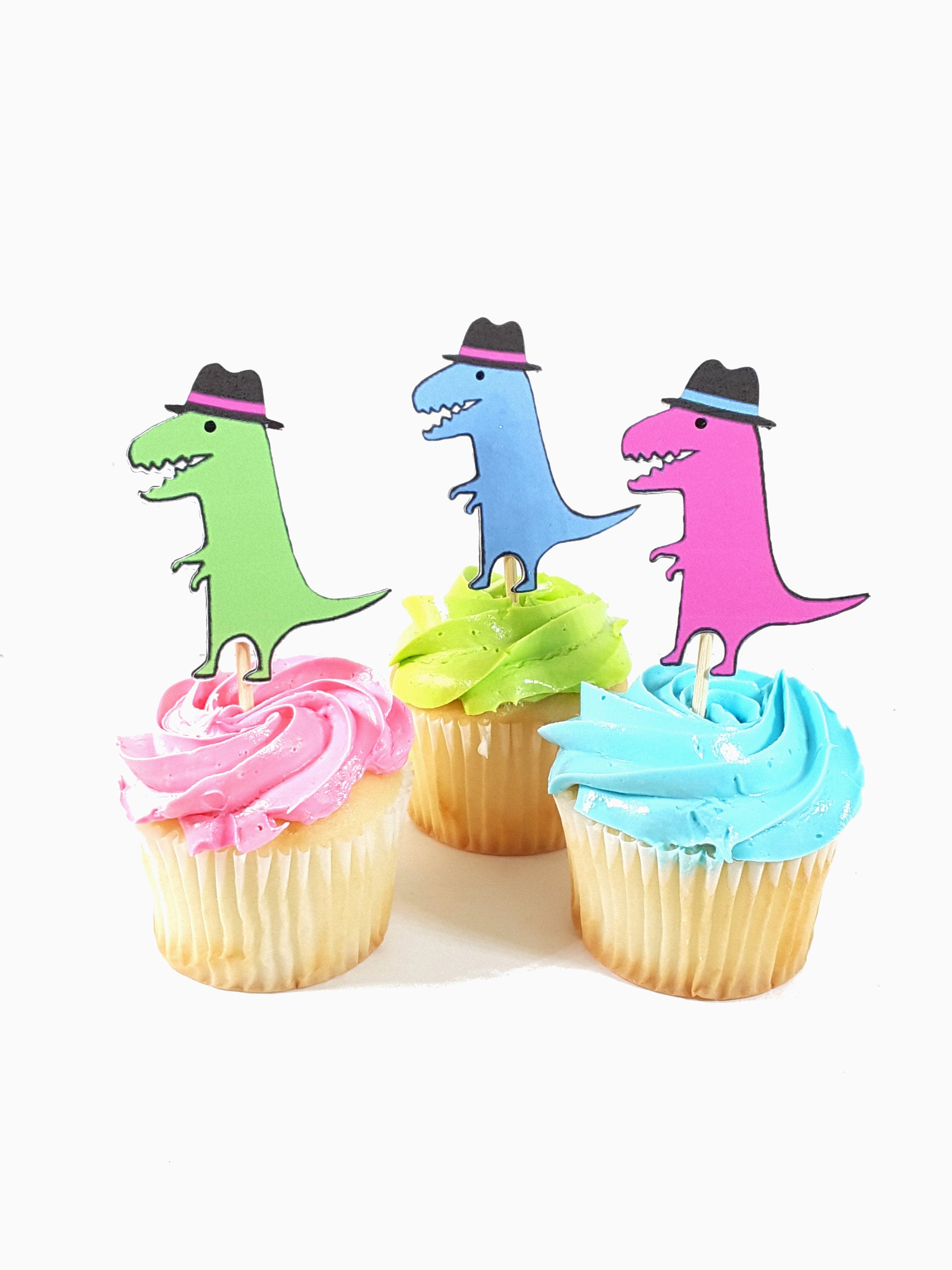 Customized Cupcake Topper featuring Colored and Black Dinosaurs with and without Fedora Hats