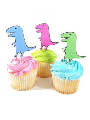 Customized Cupcake Topper featuring Colored and Black Dinosaurs with and without Fedora Hats - TheLastWordBish.com