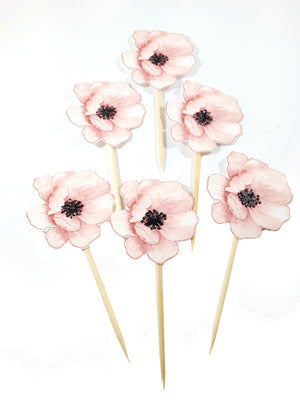 All Occasion Pale Pink Poppy Flower and Butterfly Cupcake Toppers