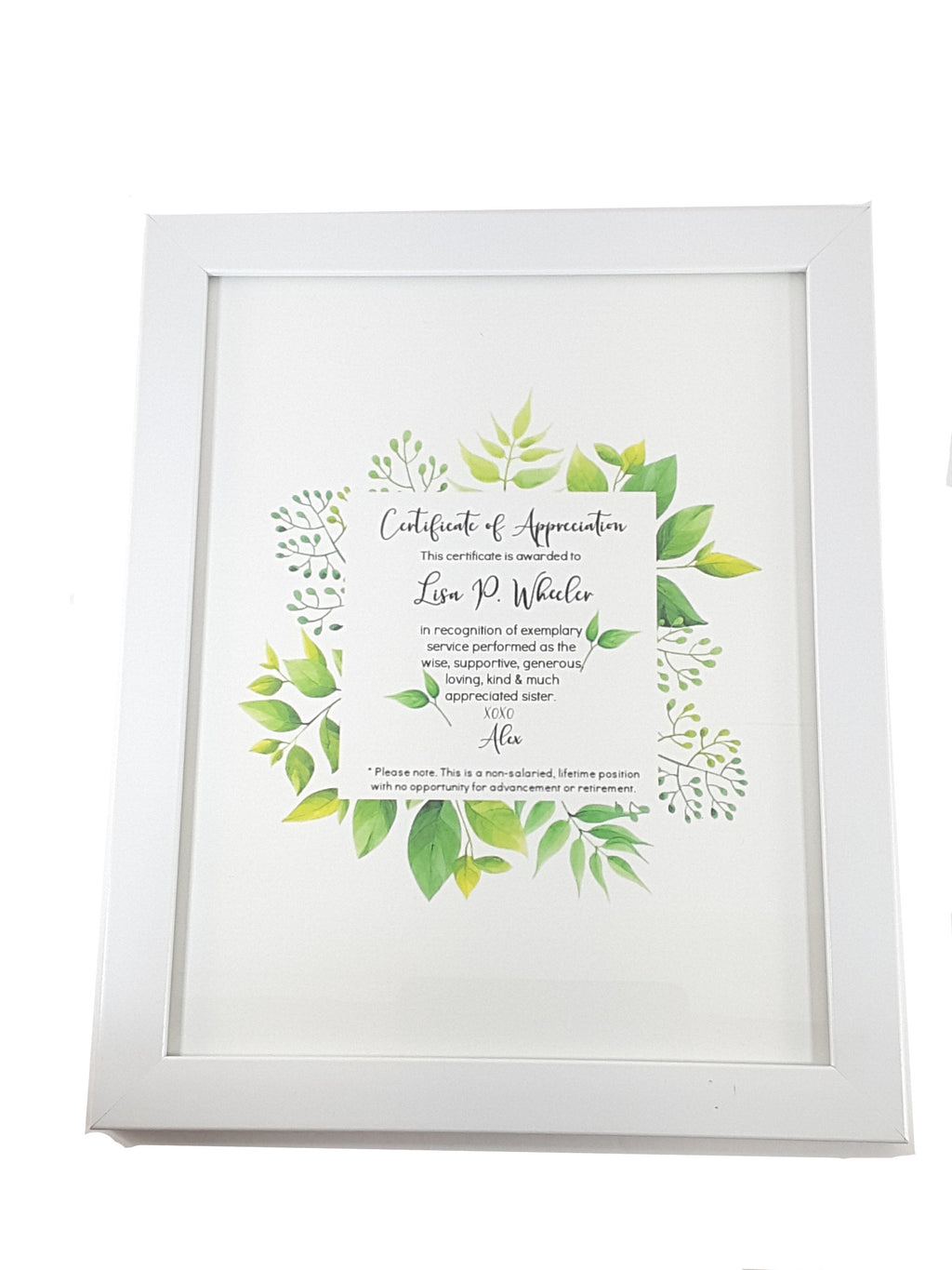 Framed Personalized Certificate of Appreciation