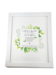 Framed Personalized Certificate of Appreciation - TheLastWordBish.com