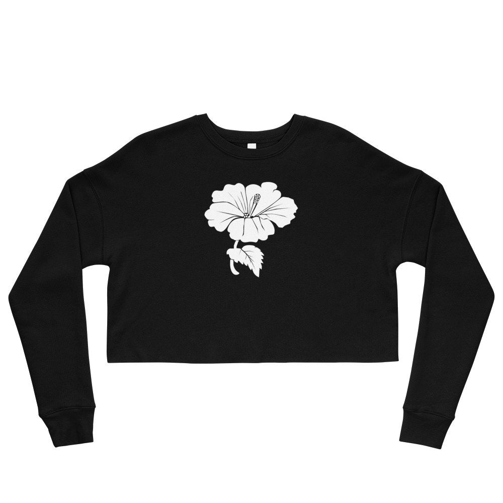 Women's Black or Navy Cropped Sweatshirt with white hibiscus flower - TheLastWordBish.com
