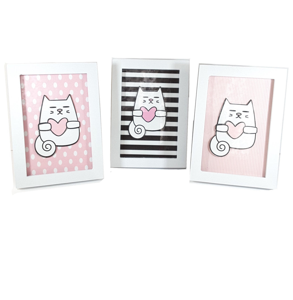 White Framed Print of Cat on Your Choice of 3 Different Backgrounds