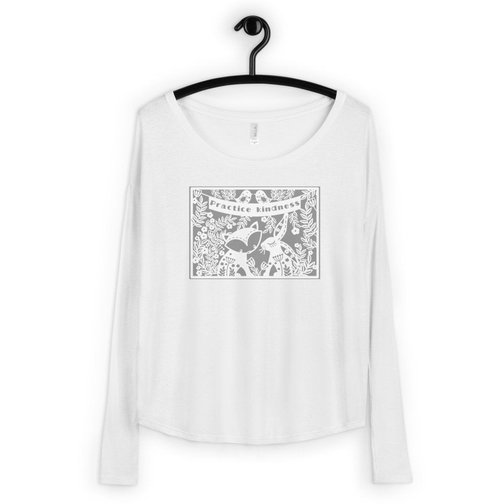 Ladies' Long Sleeve Tee Practice Kindness Forest Animal Design - TheLastWordBish.com