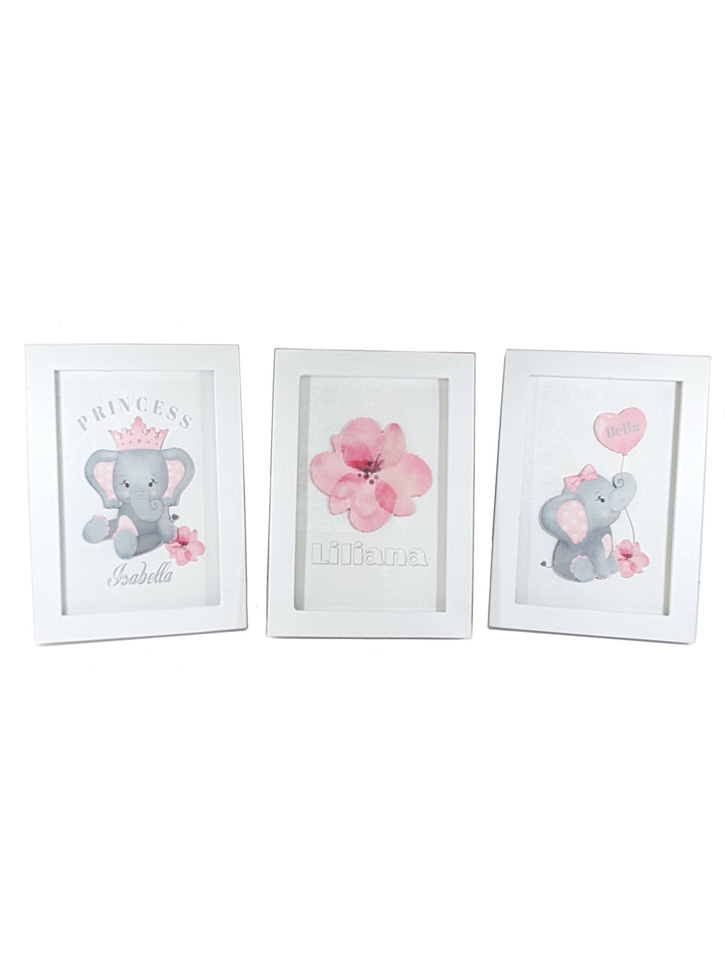 Mix and Match Coordinating Personalized Framed White Prints of Elephants