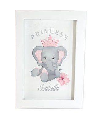Mix and Match Coordinating Personalized Framed White Prints of Elephants - TheLastWordBish.com