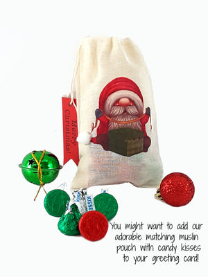 Christmas Gnome Stand Up Greeting Card Message in a Bottle, Christmas gift - TheLastWordBish.com