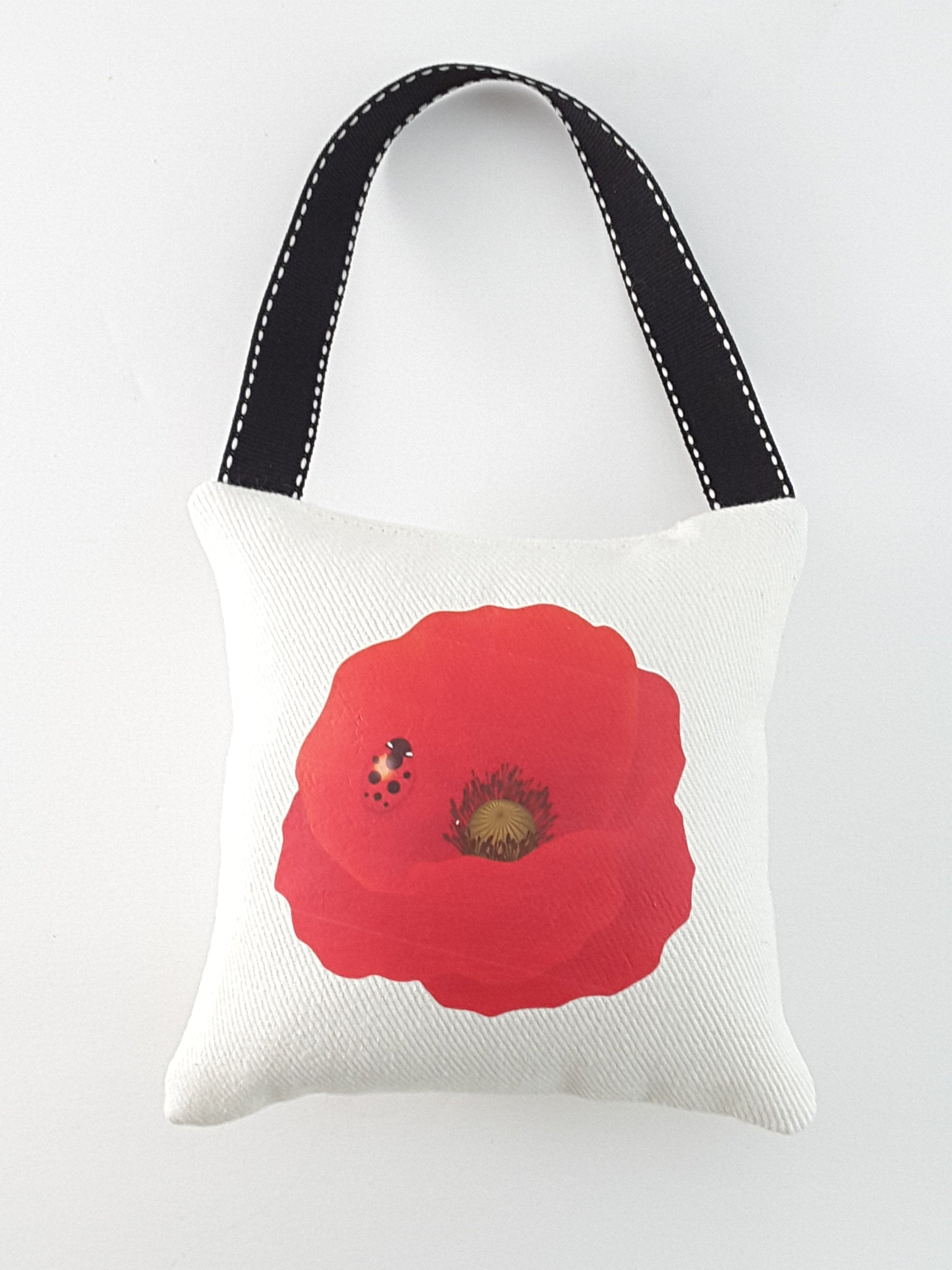 Hanging Red Poppy Pillow for Home or Office Decor - includes free shipping in USA