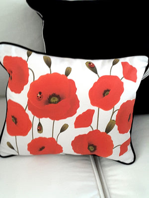 White Decorative Denim Pillow with Red Poppies, Includes Filler - TheLastWordBish.com