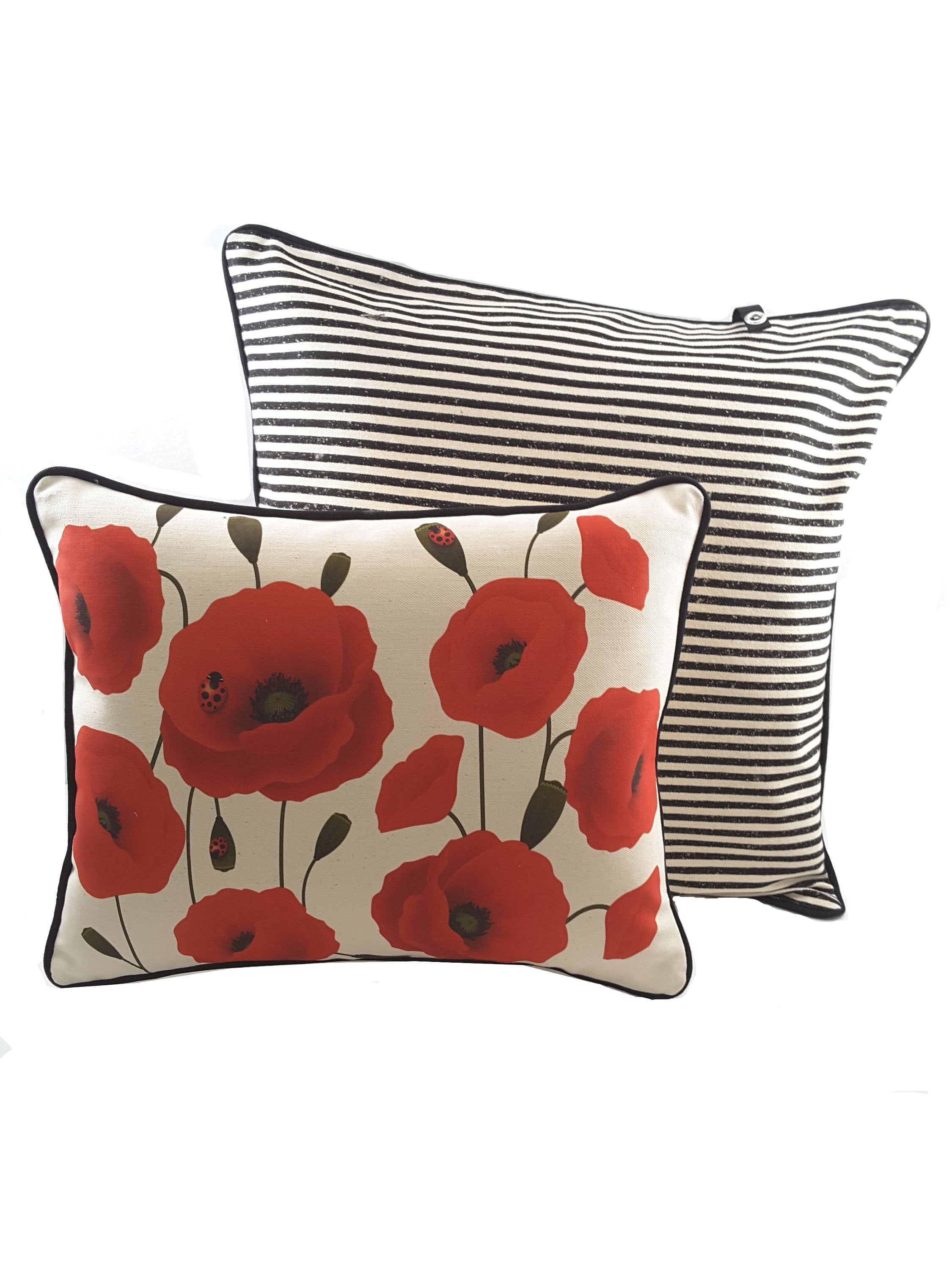Natural Decorative Denim Pillow Cover with Red Poppies - TheLastWordBish.com