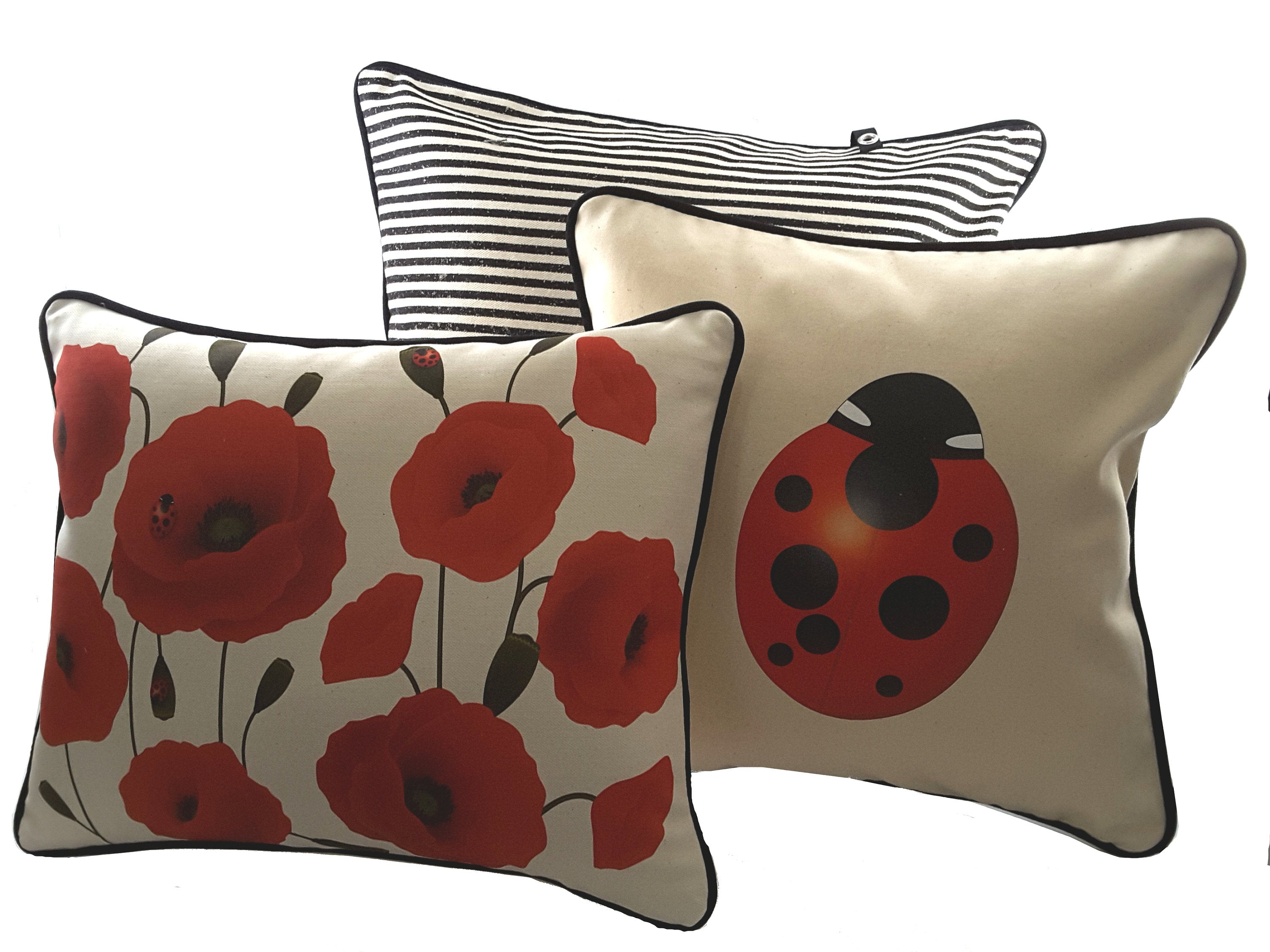 Natural Decorative Denim Pillow with Red Poppies, Includes Filler - TheLastWordBish.com