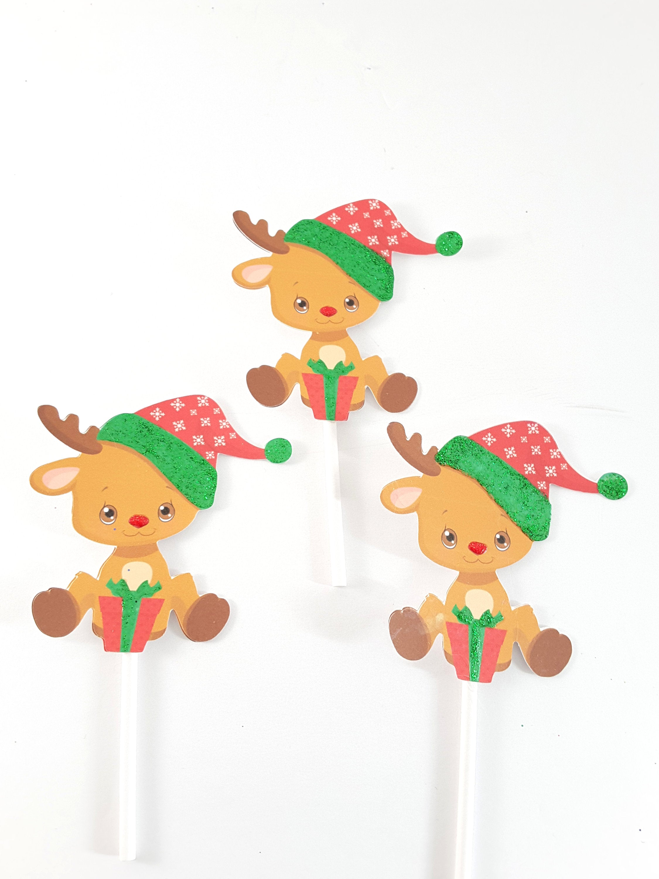 Christmas Reindeer Cupcake Topper Collection, Holiday Party Supplies - TheLastWordBish.com