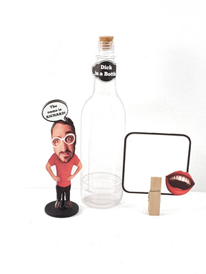 Funny Dick in a Bottle Stand Up Greeting Card, Personalized Message in a Bottle - TheLastWordBish.com