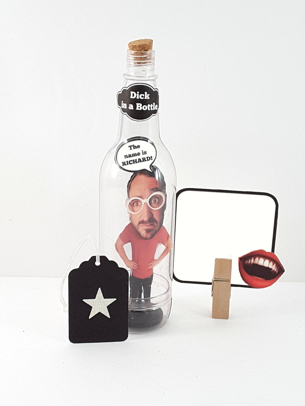 Funny Dick in a Bottle Stand Up Greeting Card, Personalized Message in a Bottle - The Last Word Bish
