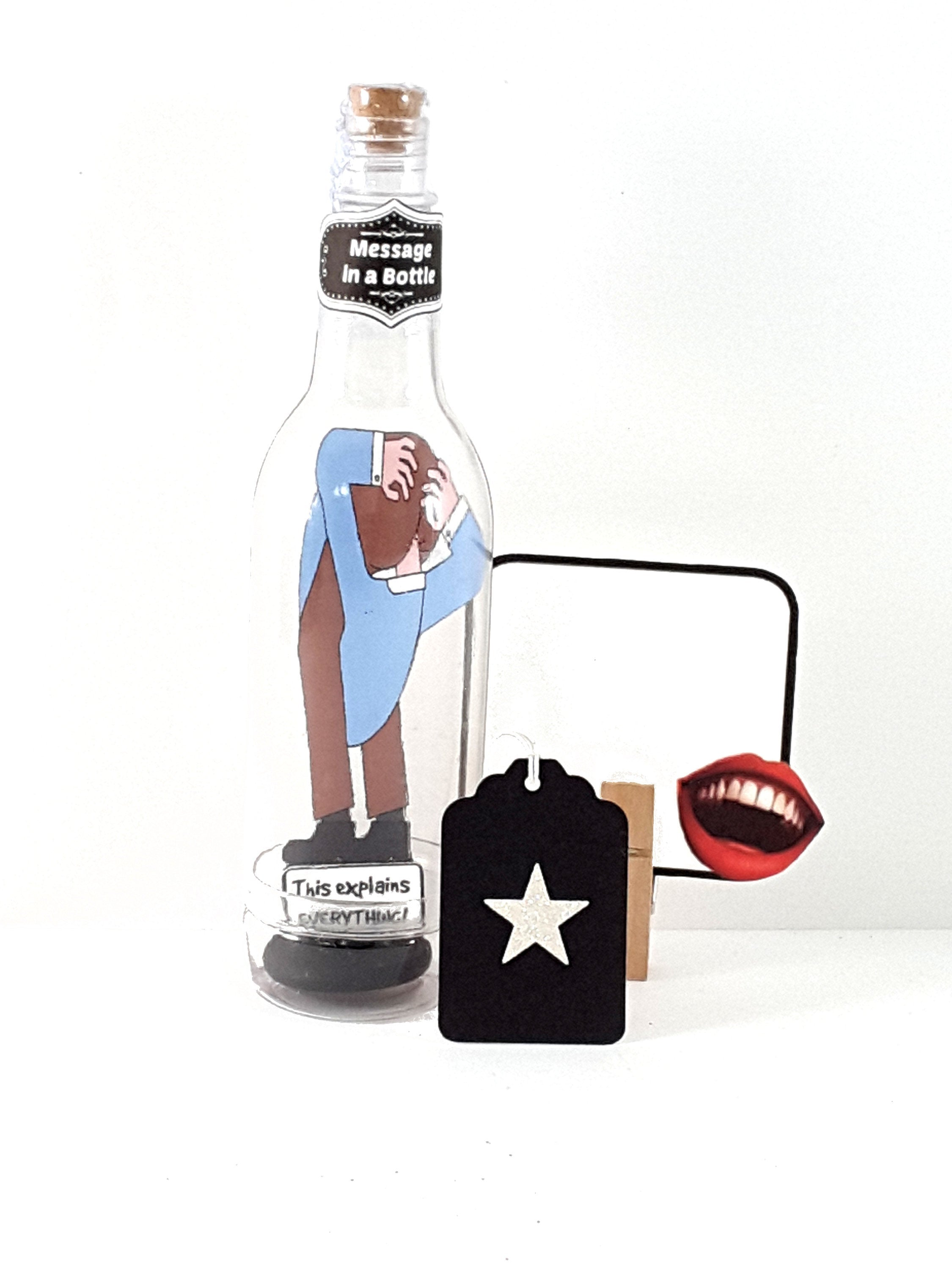 Funny Personalized Message in a Bottle Guy with Head Up His Butt Greeting Card, The Ex Boyfriend or Husband, Gift for breakup or divorce - TheLastWordBish.com