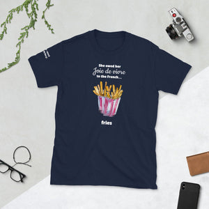 Funny Joie De Vivre Short-sleeve Unisex T-Shirt featuring Watercolor French Fries - TheLastWordBish.com