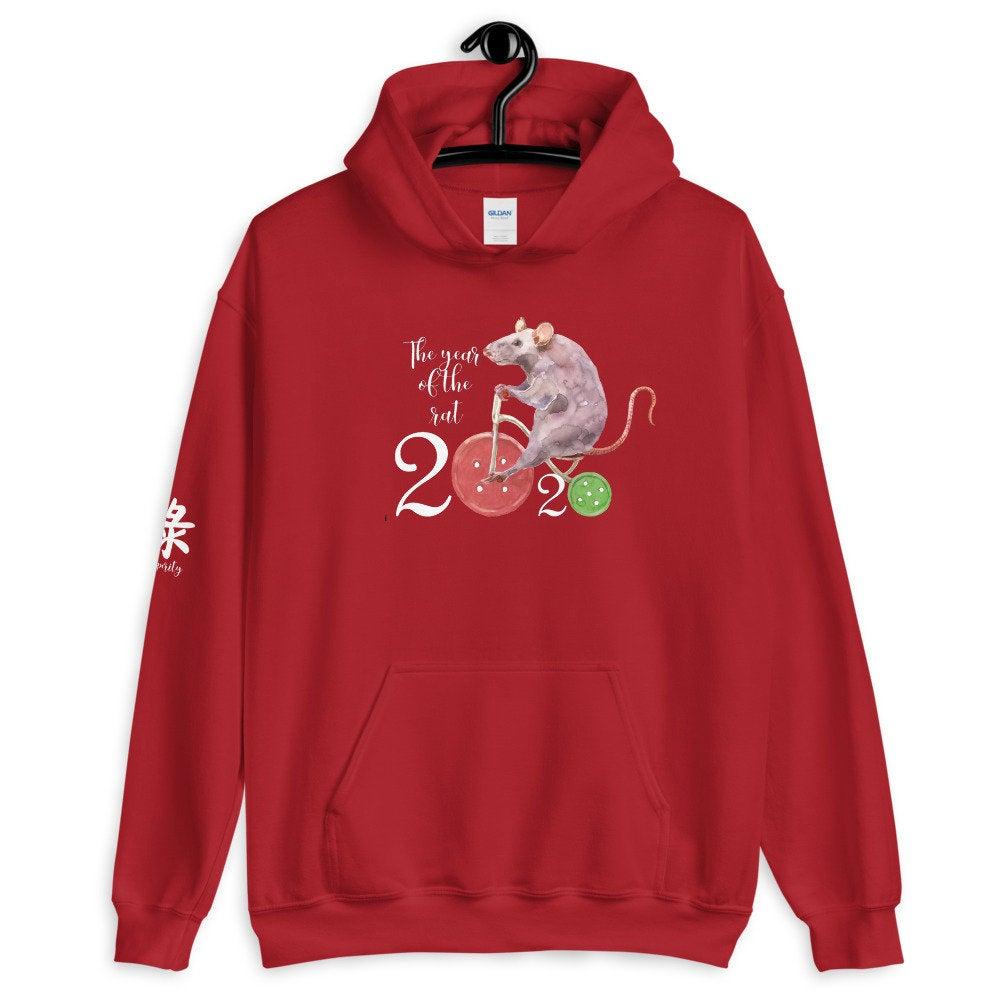 Chinese Year of the Rat 2020 Unisex Hoodie with Chinese Symbol for Prosperity - TheLastWordBish.com