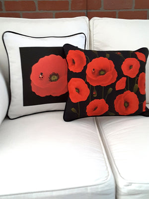 Black Decorative Denim Pillow Cover with Red Poppies - TheLastWordBish.com