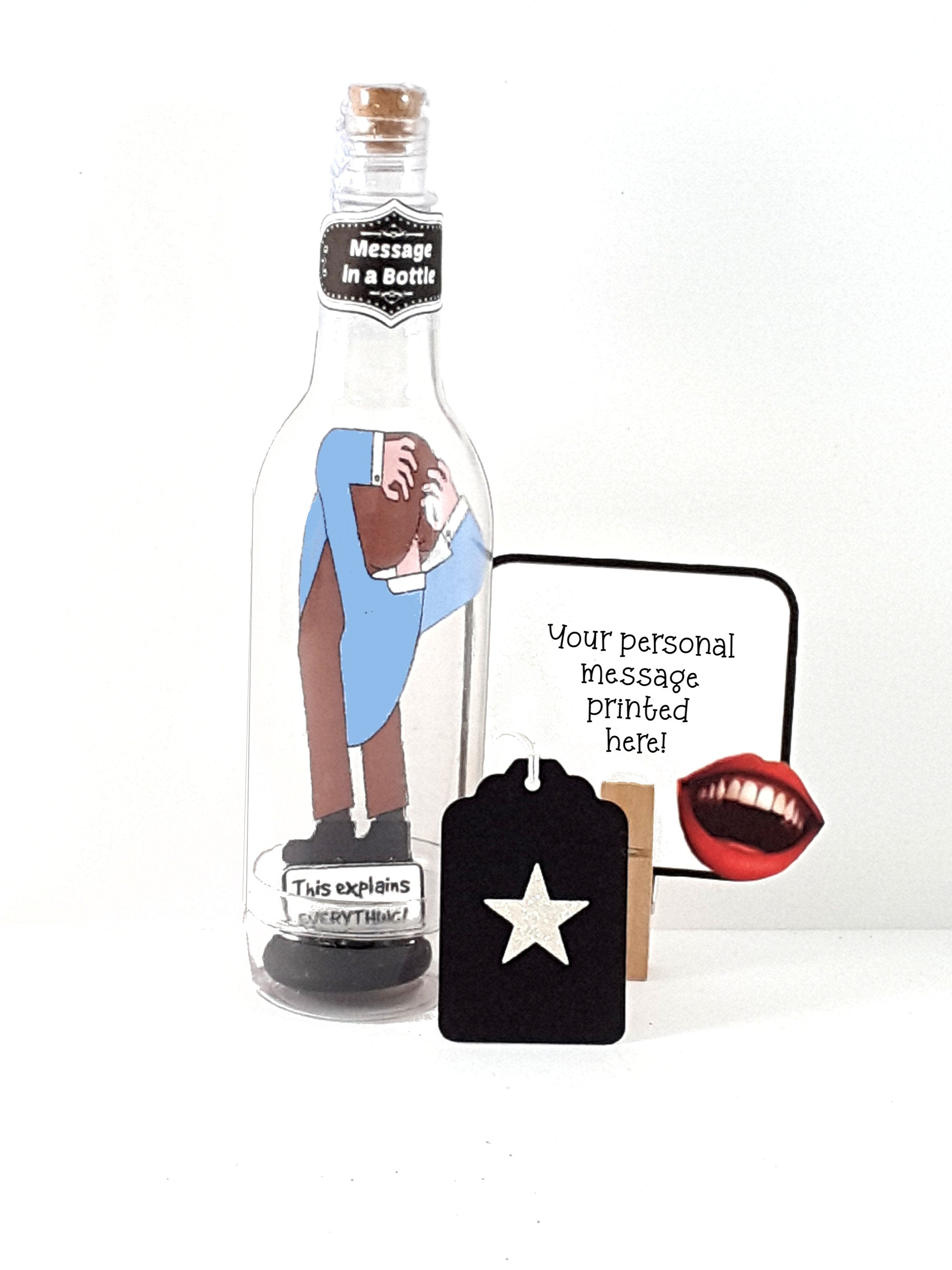 Funny Personalized Message in a Bottle Guy with Head Up His Butt Greeting Card - The Last Word Bish