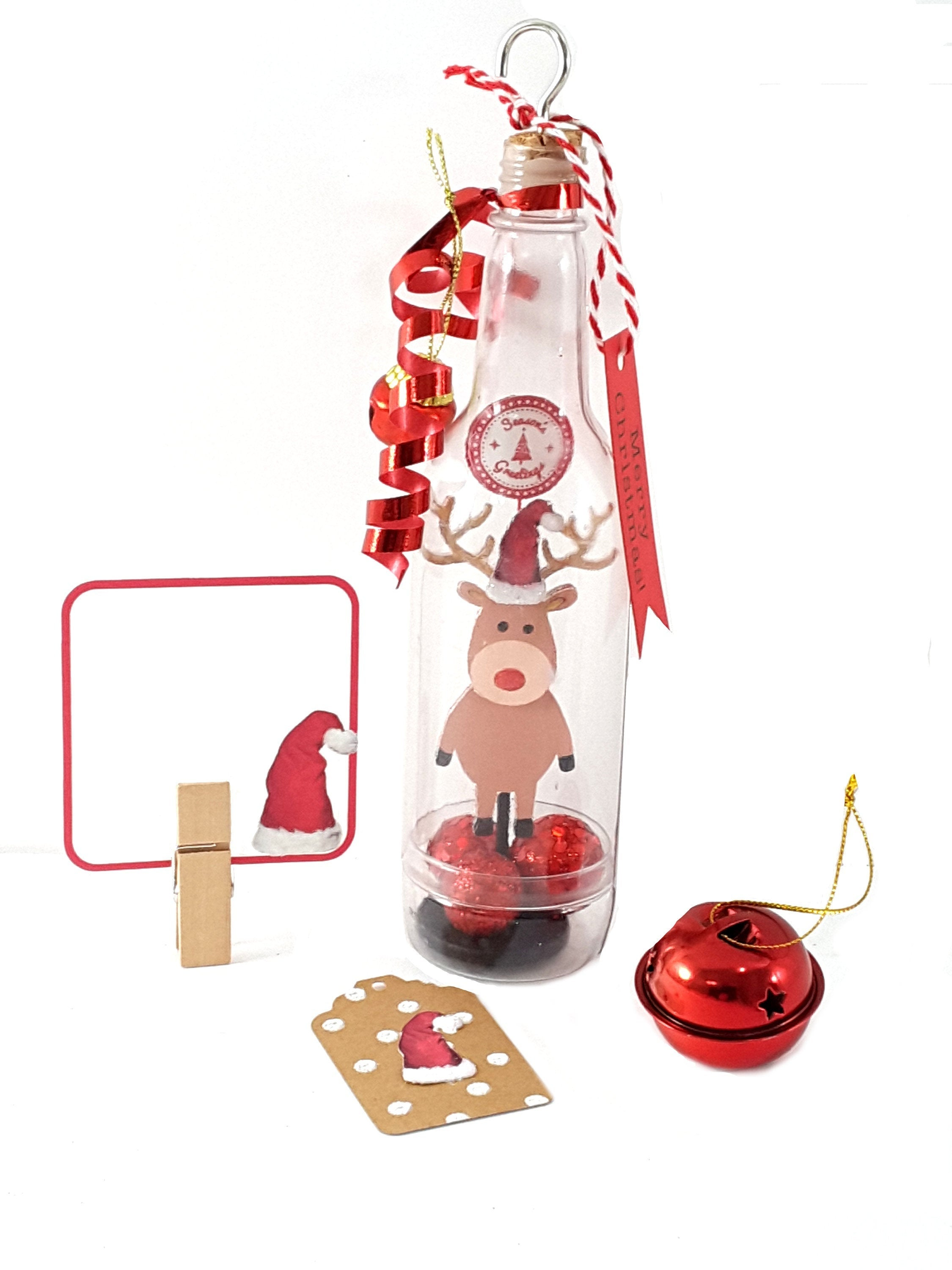 Christmas Greeting Card Message in a Bottle with Stand Up Reindeer, Christmas Gift - TheLastWordBish.com