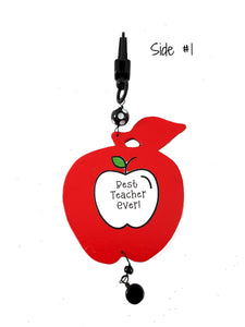 Best Teacher Ever Personalized Wood Apple Charm for Purse or Backpack, Teacher Christmas Gift - TheLastWordBish.com