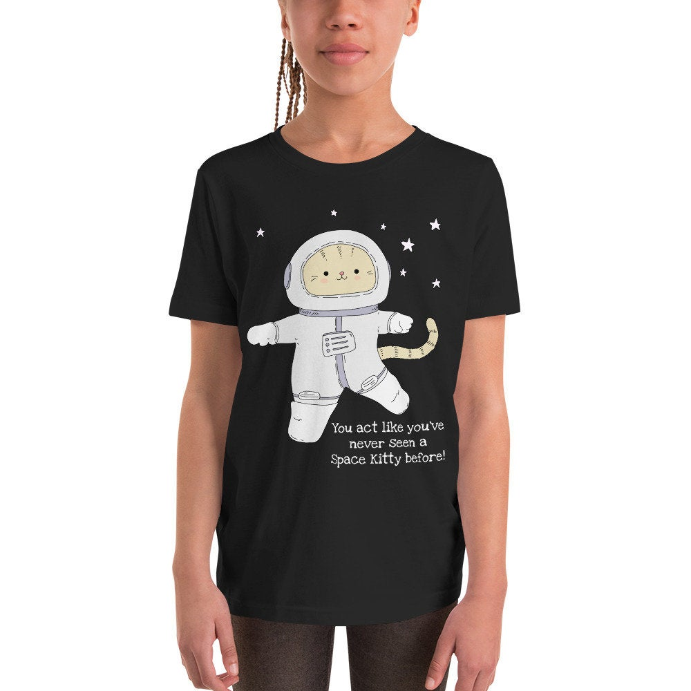 Adorable, Funny Astronaut Space Kitty Unisex Youth Short Sleeve T-Shirt - TheLastWordBish.com
