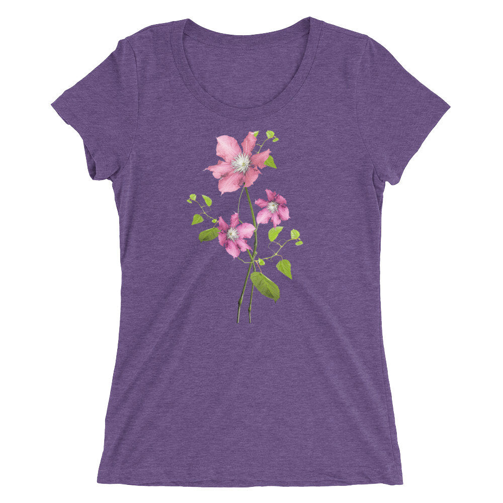 Lovely, Feminine Pink Floral Design on Ladies' short sleeve t-shirt - TheLastWordBish.com
