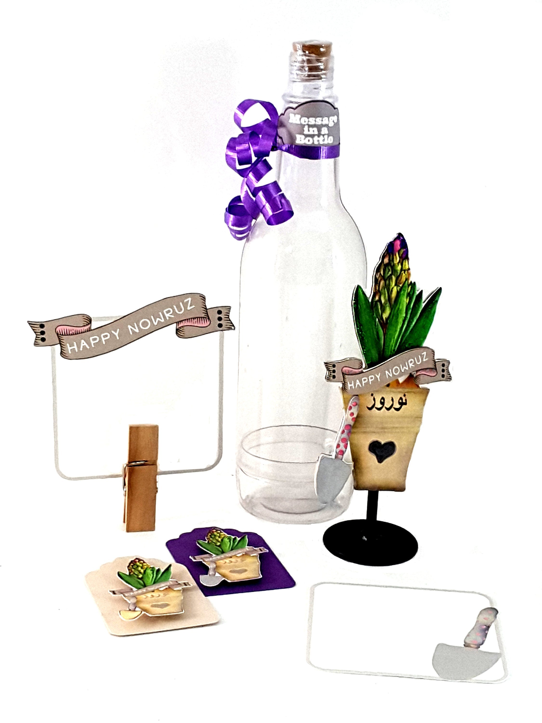 Persian New Year Nowruz Greeting Card Message in a Bottle with Potted Hyacinth Plant, Card with Haftsin Table Items included - TheLastWordBish.com