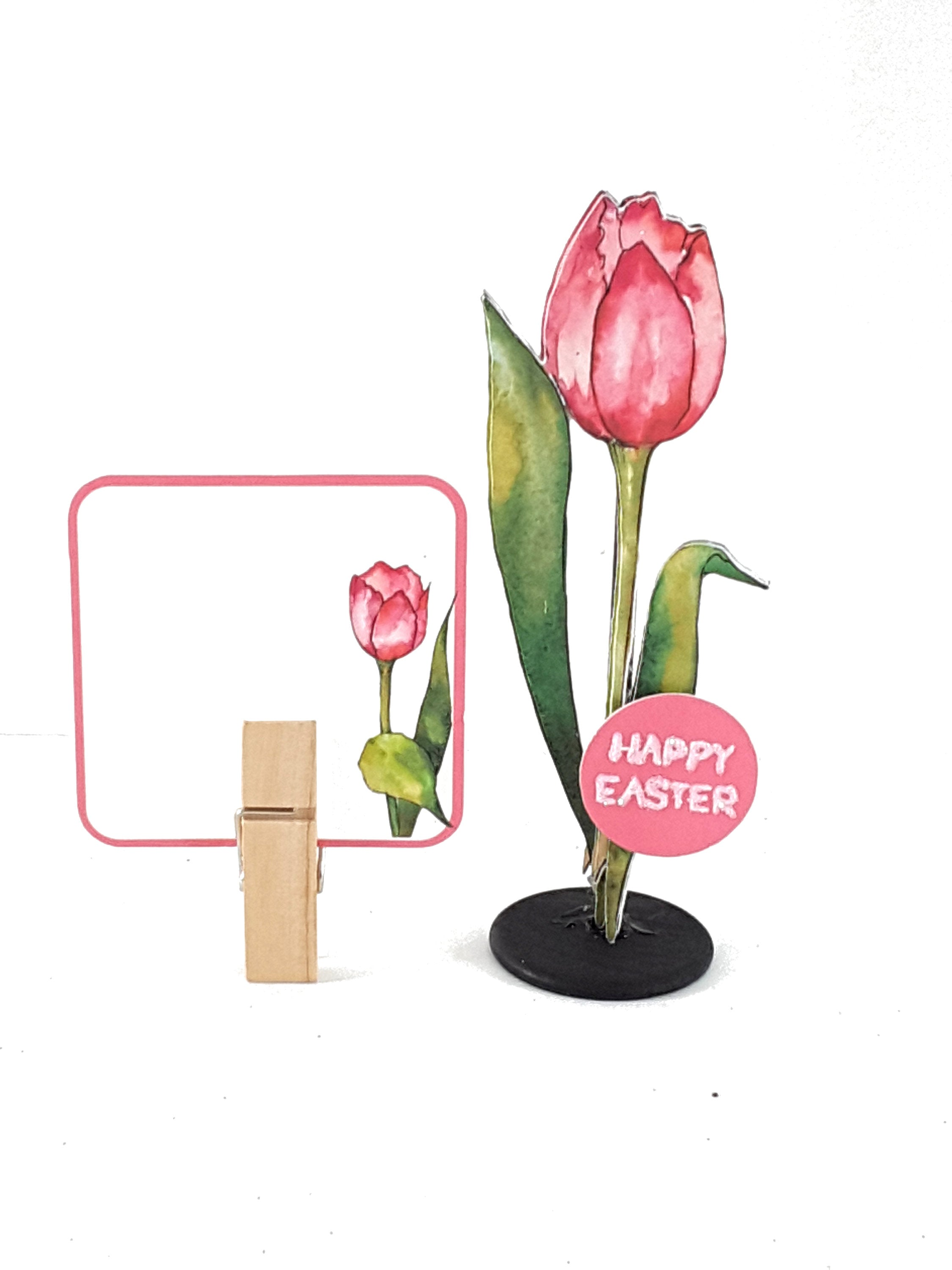 Easter Greeting Card Pink Watercolor Tulip Message in a Bottle - TheLastWordBish.com