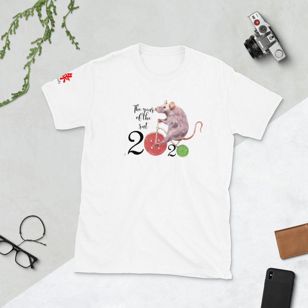 Chinese Year of the Rat for 2020 Short-Sleeve Unisex T-Shirt with Chinese Prosperity Symbol - TheLastWordBish.com