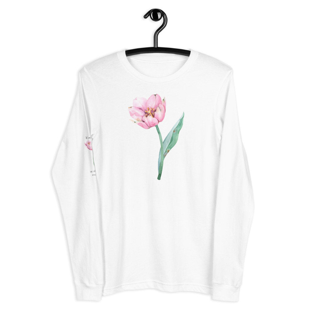 "Pink Watercolor Kindness Unisex Long Sleeve Tee with ""Kindness is its own reward"" printed on sleeve - The Last Word Bish"
