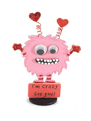 Personalized I'm Crazy for You Stand Up Greeting Card featuring Little Monster - TheLastWordBish.com