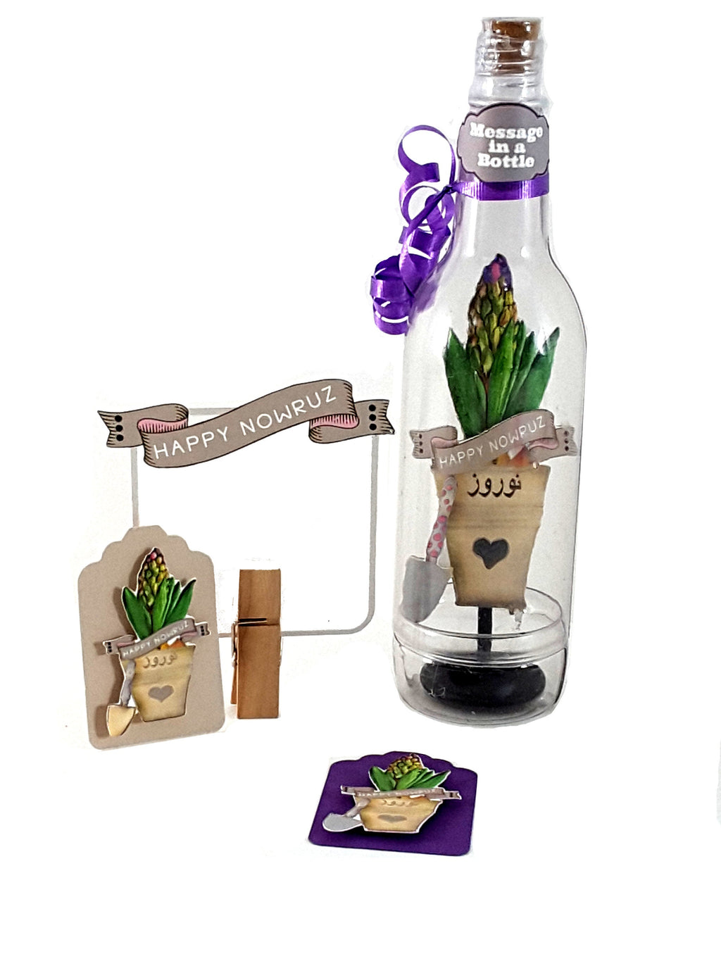 Persian New Year Nowruz Greeting Card Message in a Bottle with Potted Hyacinth Plant - The Last Word Bish