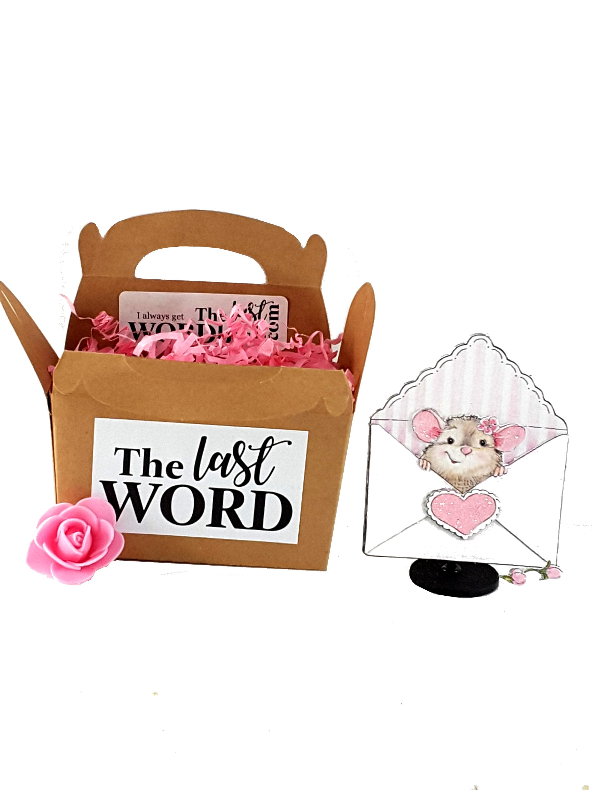 Adorable Valentine's Day Pop Up Greeting Card with Mouse in an Envelope, Valentine's Day Gift, Valentine for kids and adults, for clients - TheLastWordBish.com